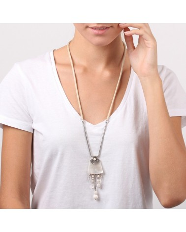 Nature bijoux - LES AJUSTABLES collier long nacre blanche
