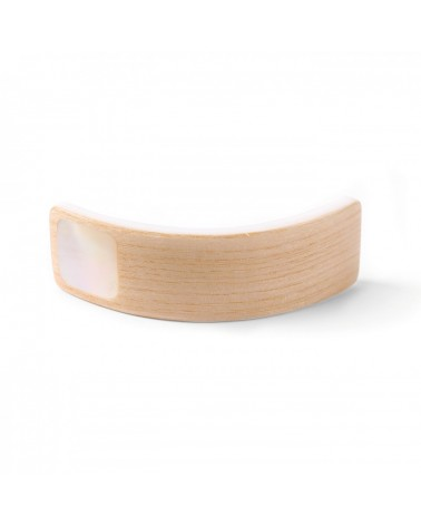 Nature bijoux - WOODY WOOD barrette rectangulaire nacre blanche
