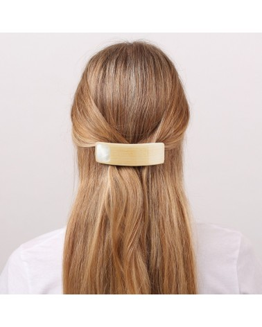 Nature Bijoux - WOODY WOOD white MOP rect. hairclip
