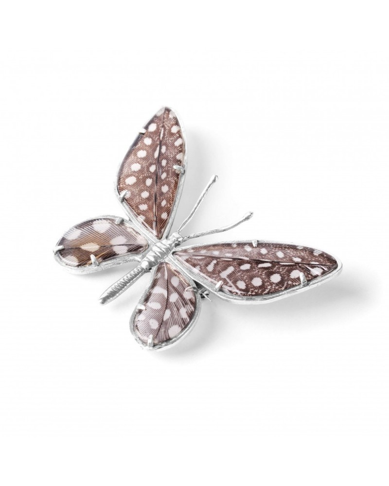 Nature Bijoux - PAPILLONS guineafowl feather brooch