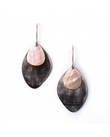 Nature Bijoux - ECHAPPEE BELLE Blacklip Hook Earrings