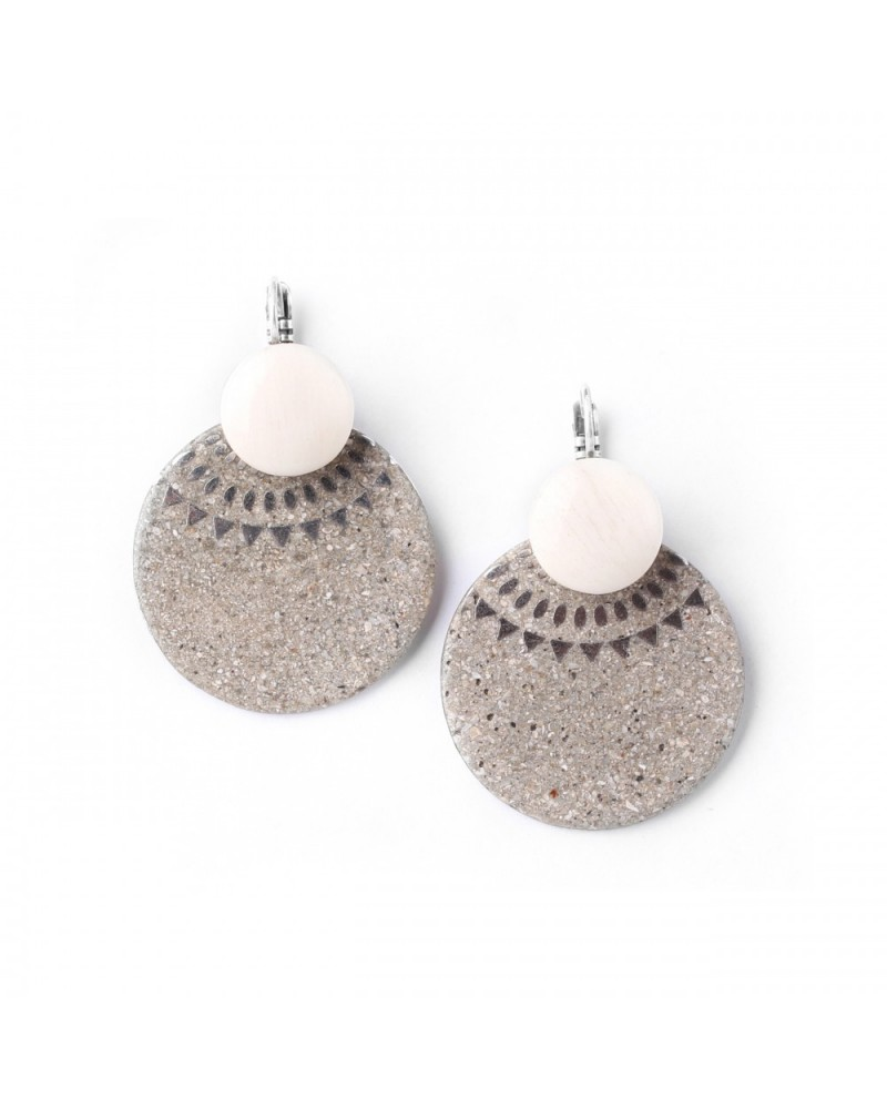 Nature Bijoux - ETHNY CITY large disc french hooks earrings
