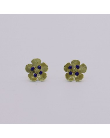 Georgia Charal - Earrings silver 925 gold plated blue enamel little flower