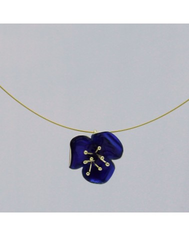 Georgia Charal - Pendant Necklace silver 925 gold plated blue enamel poppies