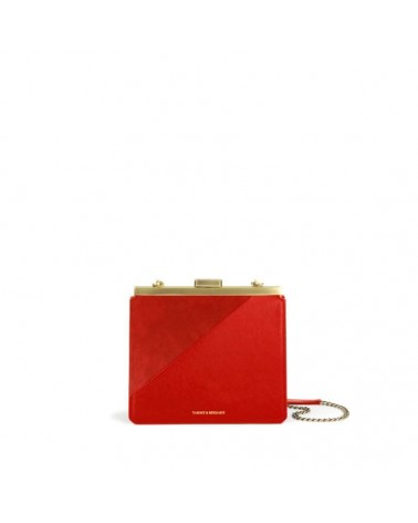 Tammy & Benjamin - JEANNE Mars red Leather Clutch