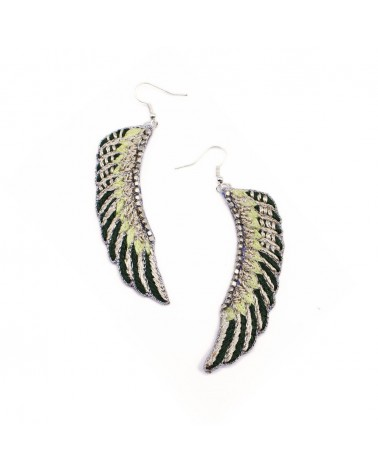 NAHUA - Boucles d'oreille brodées SHAMPA Green Yellow