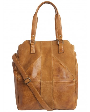 PIECES - Ladies Leather Shopper Handbag Cognac