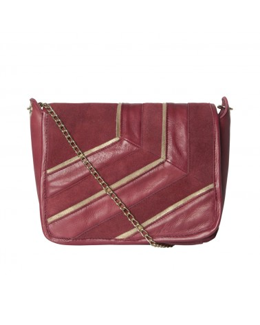 PIECES - Leather bag Crossbody bag for Women Burgundy