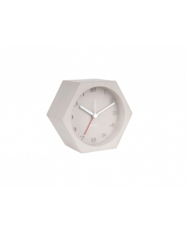 Present time  Karlsson Alarm clock Hexagon concrete grey