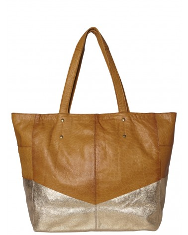 PIECES - PCBRITTANY Cabas Sac shopping en cuir Cognac