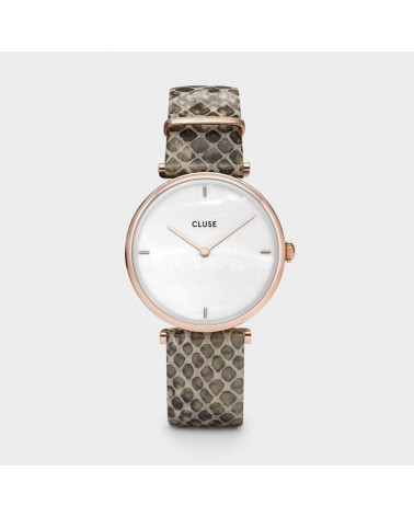 CLUSE - Montre Femme Triomphe Rose Gold White Pearl Soft Almond Python