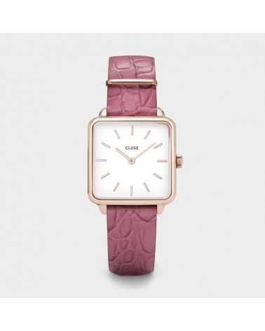 CLUSE - Montre Femme La Tétragone Rose Gold White Soft Berry Alligator