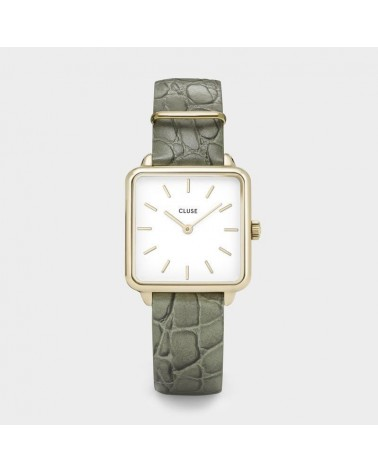 CLUSE - Montre Femme La Tétragone Gold White Green Alligator