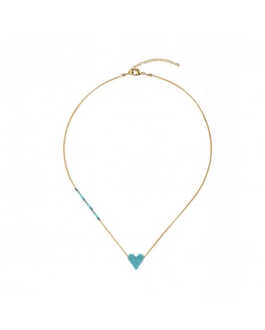 Mishky - Collier artisanal perles cousues main HEARTSY NECKLACE-GP-S-7589