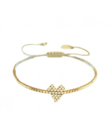 Mishky - Bracelet artisanal perles cousues main HEARTSY ROW-BE-XS-7577