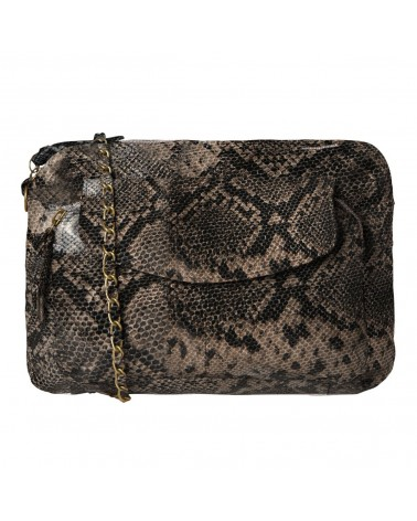 PIECES - PCNAINA Grand sac bandoulière cuir Beige Snake