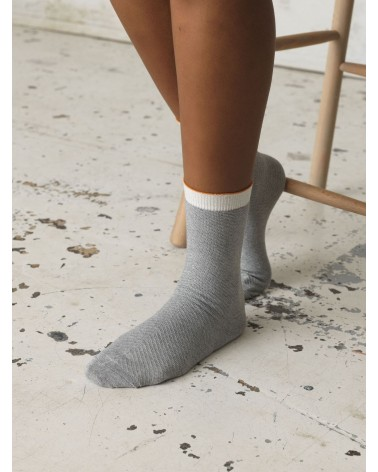 Beck Sondergaard - Chaussettes Dnana Herringbone Frill Sock Light Grey