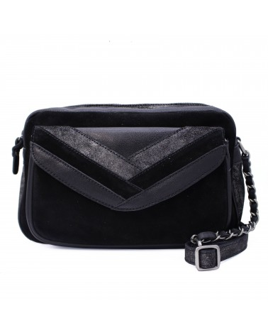 Mila louise - Oreline Black Leather Shoulder bag FW19