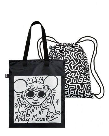 LOQI Duo Backpack and Reusable shopping bags KEITH HARING Andy Mouse & Untitled