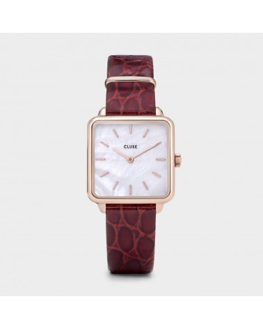 CLUSE -  La Tétragone Leather Rose Gold White Pearl/Dark Red Alligator