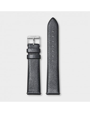 CLUSE -  Strap 18 mm Leather Dark Grey Metallic/ Silver