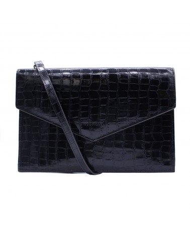 Neuville - Pochette cuir BIG PARTY BLACK CROCO