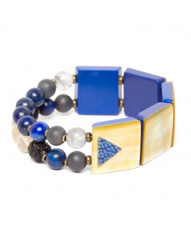 Nature Bijoux - Blue Tribe Bracelet Extensible 2 Rangs