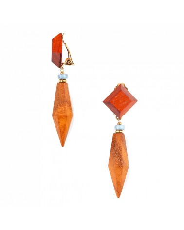 Nature Bijoux - Wood Diamond Clips Top Carré