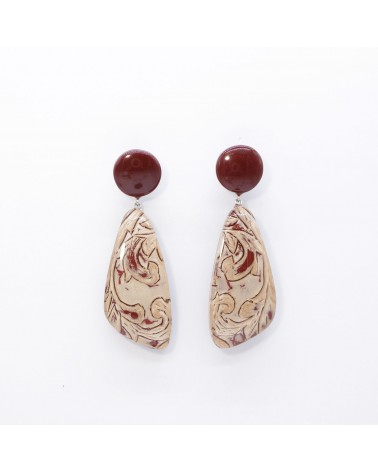 ZSISKA - Boucles d'oreilles NOBLE 2 Beads pin Rouge Rose