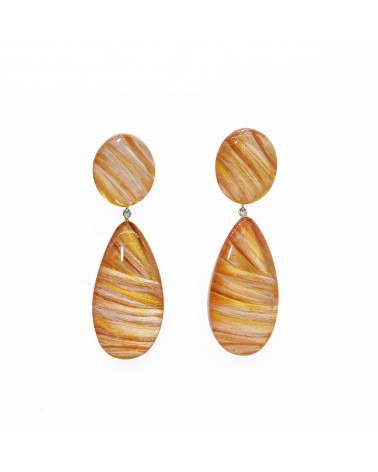 ZSISKA - Boucles d'oreilles EDEN 2 Beads pin Orange