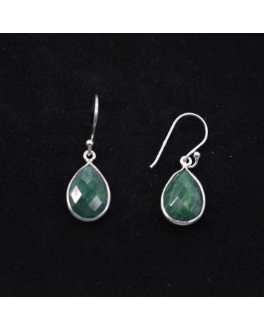 BELLE 10 mm Natural Emerald Gemstone 925 Argent Plaqué or//Dangle Earrings
