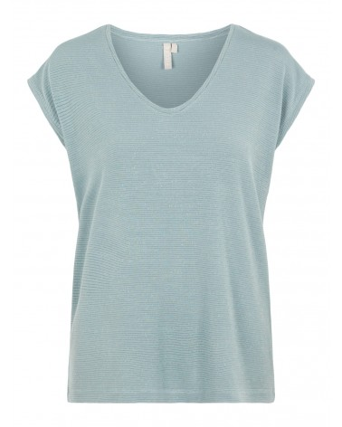 PIECES - PCBILLO TEE LUREX PAILLETTES T-SHIRT Blue Slate