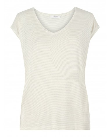 PIECES - PCBILLO TEE LUREX PAILLETTES T-SHIRT Bright White