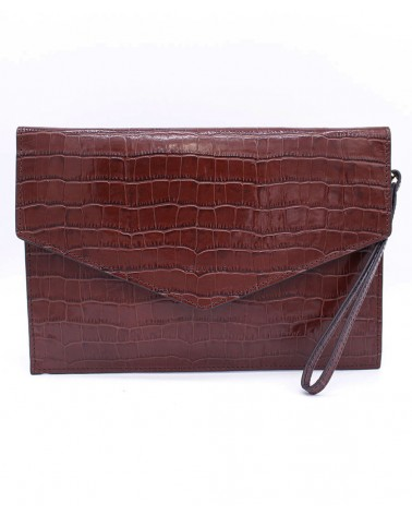 Neuville - Pochette cuir BIG PARTY CAMEL CROCO