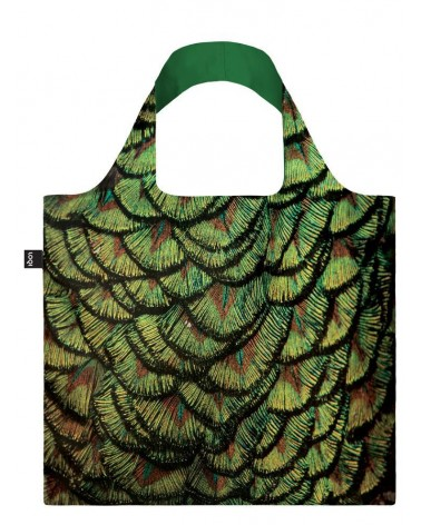 LOQI - Sac avec pochette zip National Geographic Photo Ark Indien plume de Paon