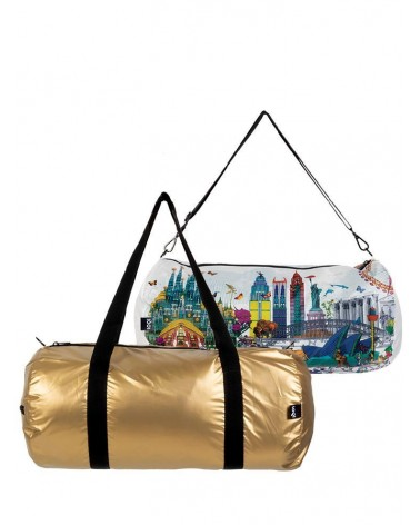 LOQI - Sac Weekender pliable et reversible Kristjana S Williams Interiors Gold & World Skyline