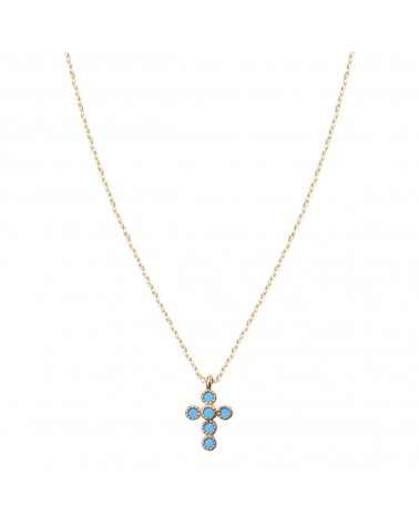 BY 164 - Collier Petite Croix Turquoise