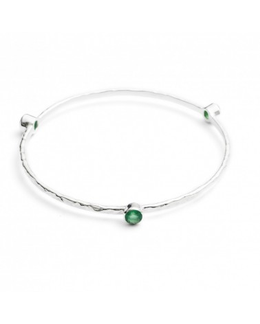AZUNI Three Stone Stacking Bangles Silver Green Onyx