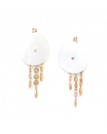 Franck Herval APRIL boucles dormeuses en Nacre 3 chaines