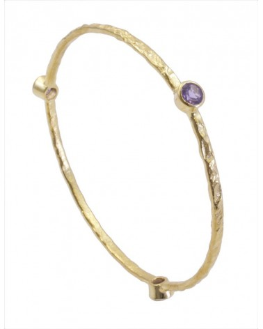 AZUNI Three Stone Stacking Bangles Gold Amethyst