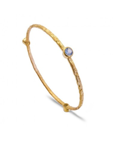 AZUNI Three Stone Stacking Bangles Gold Blue topaz
