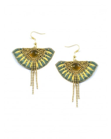 NAHUA - Boucles d\'oreilles brodées BRAVA Palm Honey Gold