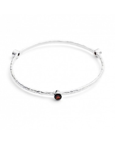 AZUNI Three Stone Stacking Bangles Silver Garnet