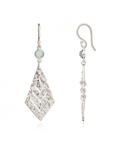 Azuni Wave  Earrings Silver Aqua