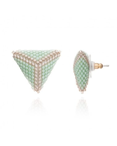 Azuni Stud Earrings Delica 3D Triangle Mint