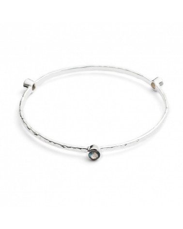 AZUNI Three Stone Stacking Bangles Silver Labrodite