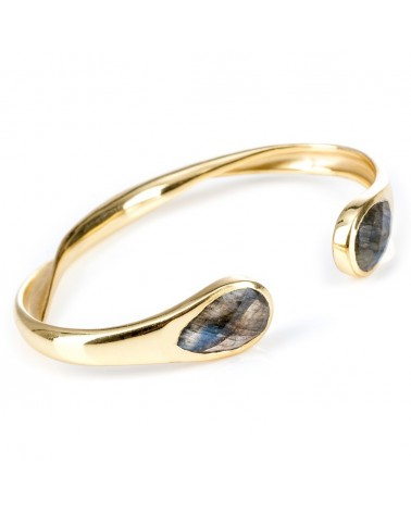 Azuni Open backed twisted square teardrop stone bangle ­Labrodite