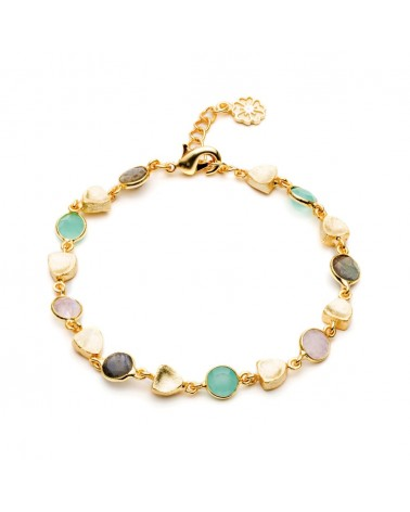 Azuni Sara Mixed Geostone Bracelet Gold Aqua Smoke Rose