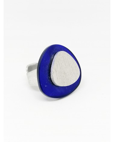 Bague triangle bi-couleur Bleu Argente Culture Mix