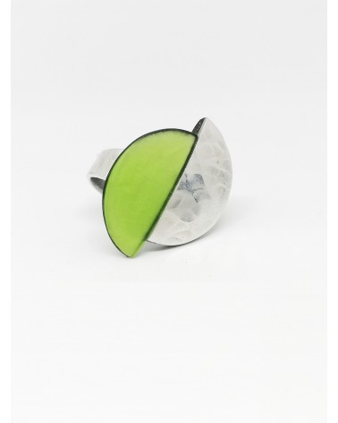 Bague demi lune bi-colore B1004 Vert Culture Mix